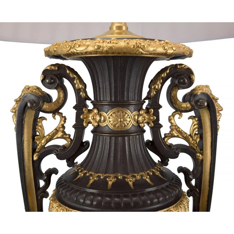 Pair of French 19th Century Renaissance Style Rouge Griotte Marble Lamps In Excellent Condition For Sale In West Palm Beach, FL
