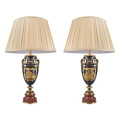 Pair of French 19th Century Renaissance Style Rouge Griotte Marble Lamps