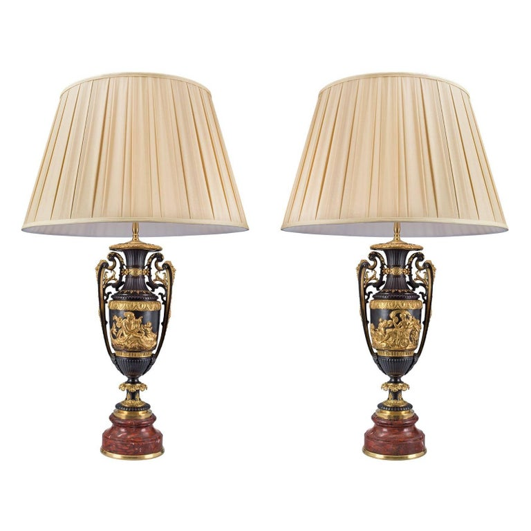 Pair of French 19th Century Renaissance Style Rouge Griotte Marble Lamps For Sale
