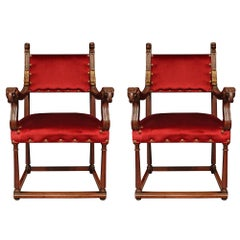 Pair of French 19th Century Renaissance Style Walnut Armchairs