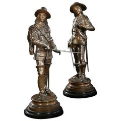 Pair of French 19th Century Signed Bronze Cavaliers