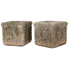 Pair of French 19th Century Square Cast Stone Pots