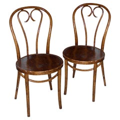 Pair of French 19th Century Stained Beech Bentwood Side Chairs