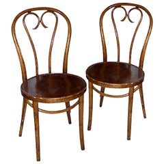Pair of French 19th Century Stained Bentwood Side Chairs