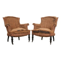 Pair of French 19th Century Structured Armchairs