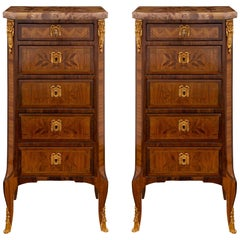 Pair of French 19th Century Transitional Style Chiffoniers Cabinets