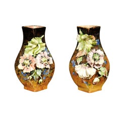 Pair of French 19th Century Vases with Barbotine Décor of Flowers and Leaves