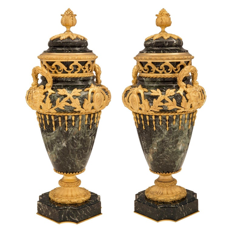 Pair of French 19th Century Vert de Patricia Marble and Ormolu Lidded Urns In Good Condition For Sale In West Palm Beach, FL