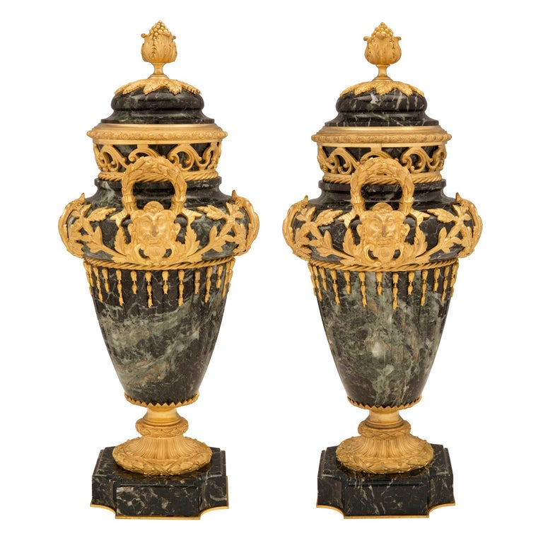 Pair of French 19th Century Vert de Patricia Marble and Ormolu Lidded Urns For Sale 1