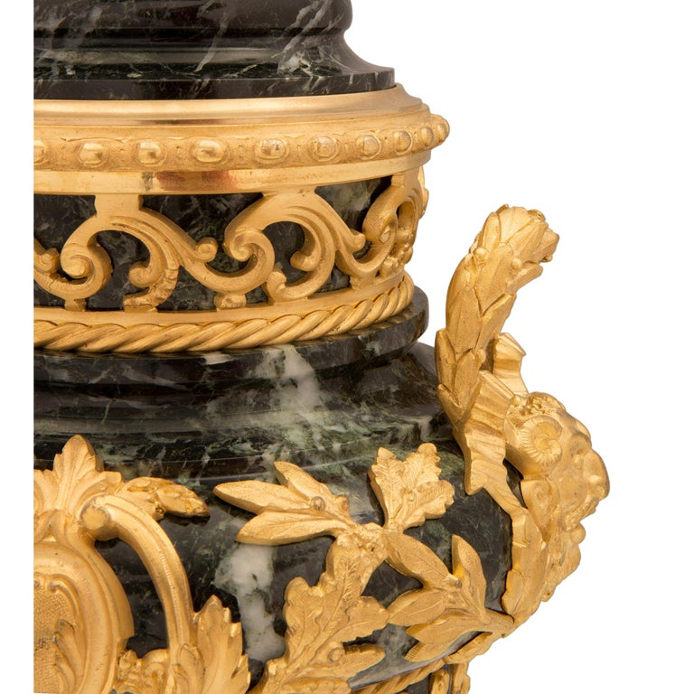 Pair of French 19th Century Vert de Patricia Marble and Ormolu Lidded Urns For Sale 6