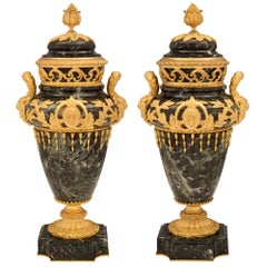 Pair of French 19th Century Vert de Patricia Marble and Ormolu Lidded Urns