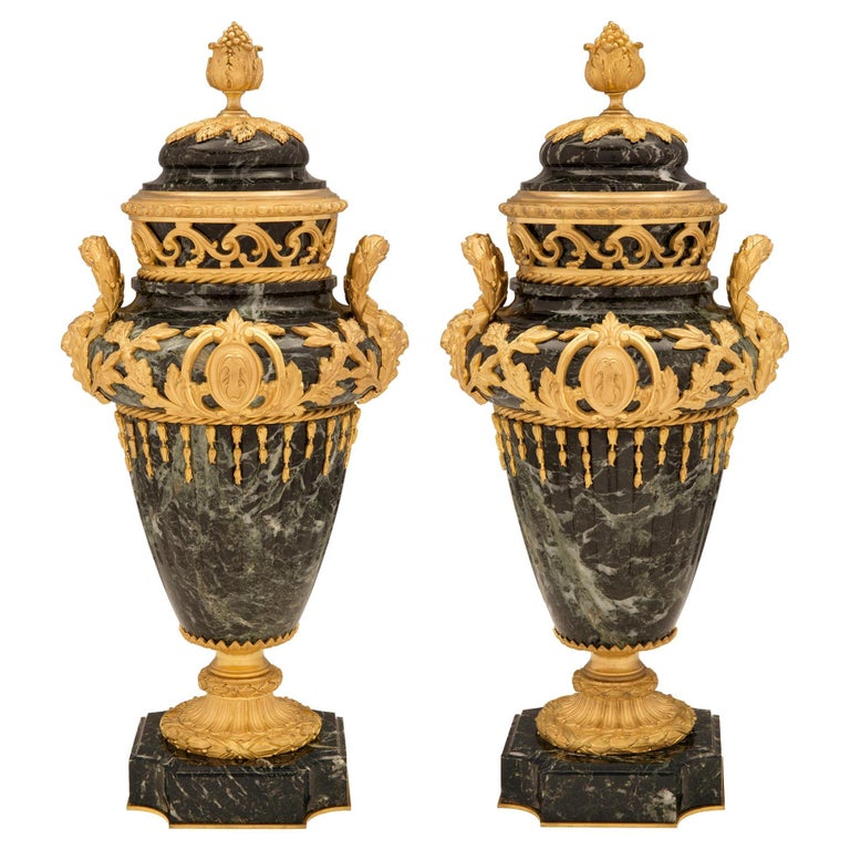Pair of French 19th Century Vert de Patricia Marble and Ormolu Lidded Urns For Sale