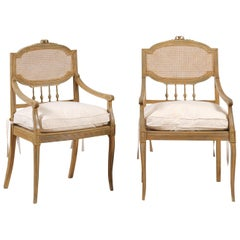 Pair of French 19th Century Wood and Cane Armchairs with New Custom Cushions