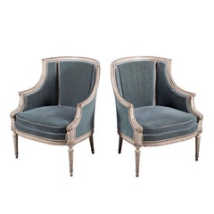 Pair of French 19th Century Wooden Chairs with Blue Velvet Upholstery