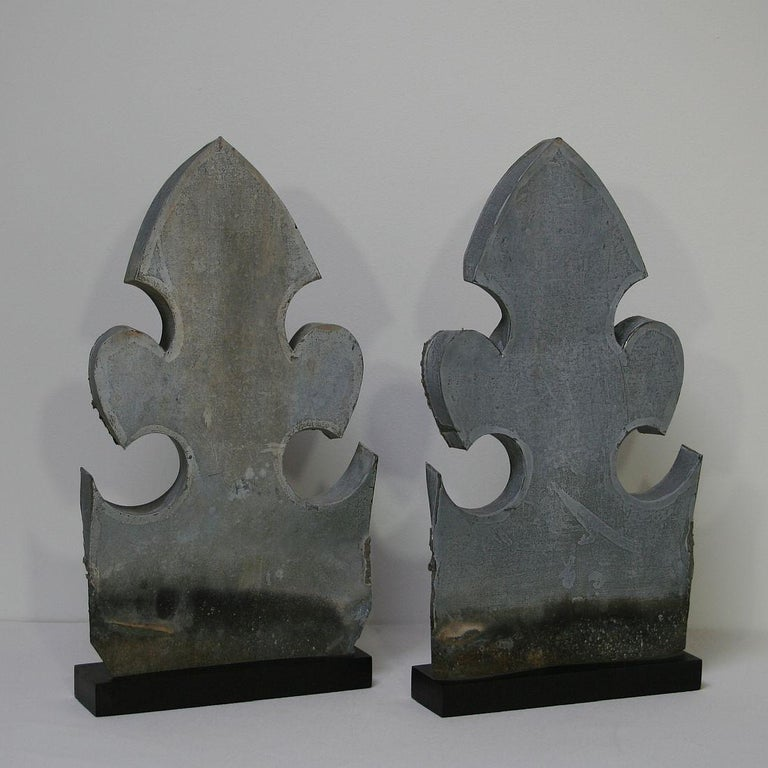 Belle Époque Pair of French 19th Century Zinc Roof Finials For Sale
