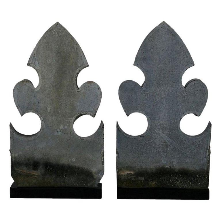 Pair of French 19th Century Zinc Roof Finials For Sale