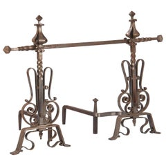 Pair of French 20th Century Andirons with Accessories