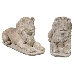 Pair of French 20th Century Cement Reclining Lion Sculptures with Patina