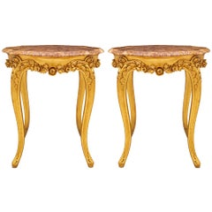 Pair of French 20th Century Louis XV St. Giltwood and Marble Side Tables