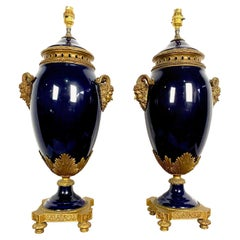 Pair of French 20th Century Louis XVI Style Blue Sèvres Style Porcelain Lamps