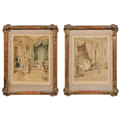 Pair of French 20th Century Louis XVI Style Genre Prints in Carved Frames