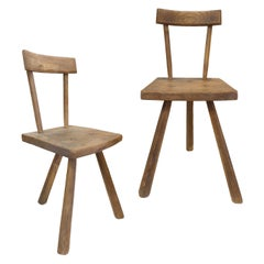 Pair of French 3-Legged Chairs Attributed to Jean Touret