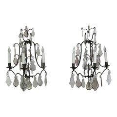 Pair of French 3-Light Crystal Sconces