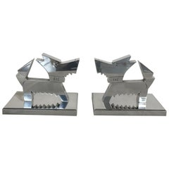 Pair of French Aluminium Midcentury Bookends, France, 1970-1980