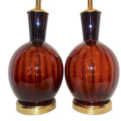 Pair of French Amber Glass Lamps