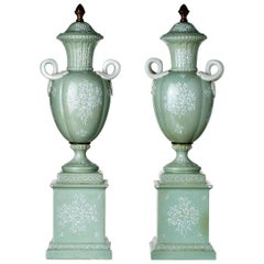 Pair of French Amphorae Edme' Samson, 19th Century