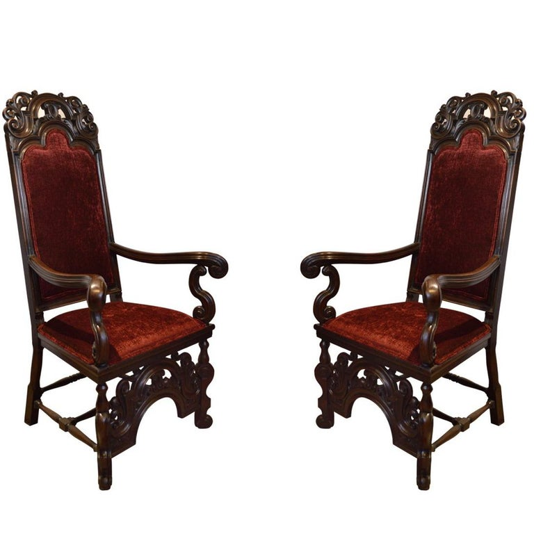 Pair of French Antique, 19th Century Hand-Carved Walnut ...