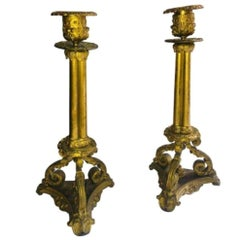 Pair Of French Antique Bronze Candlesticks