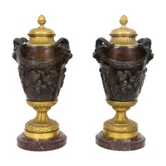 Pair of French Antique Bronze Lidded Urns