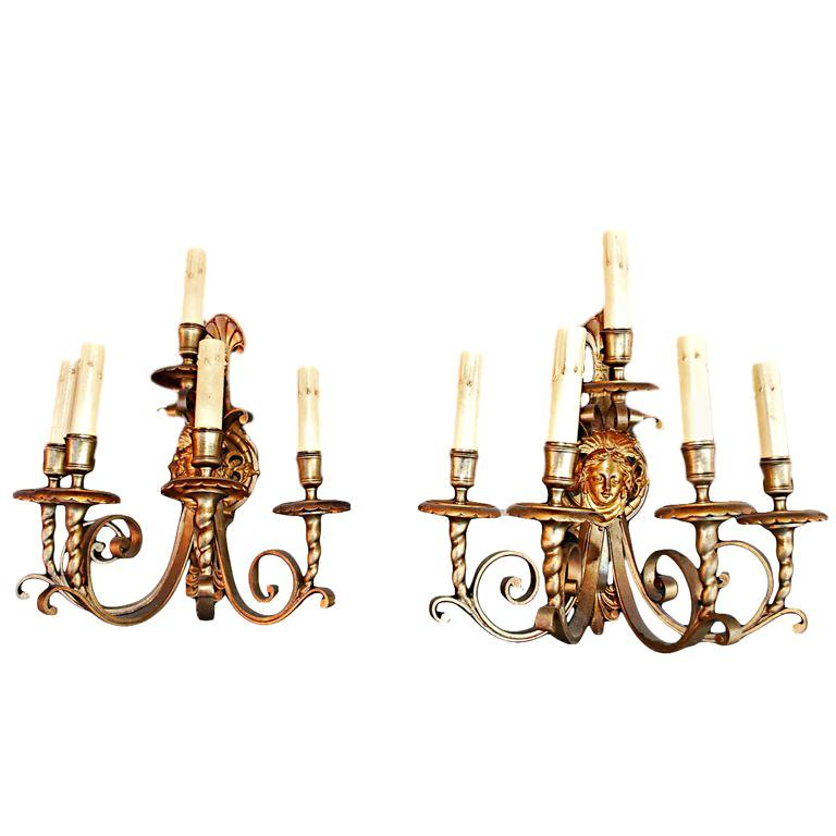 pair of French  antique  bronze sconces For Sale