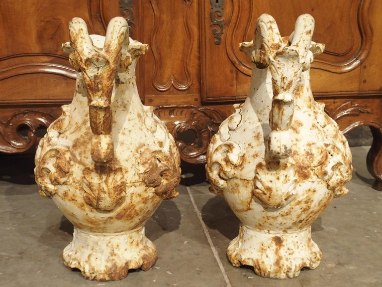 Pair of French Antique Cast Iron Pitchers For Sale 8