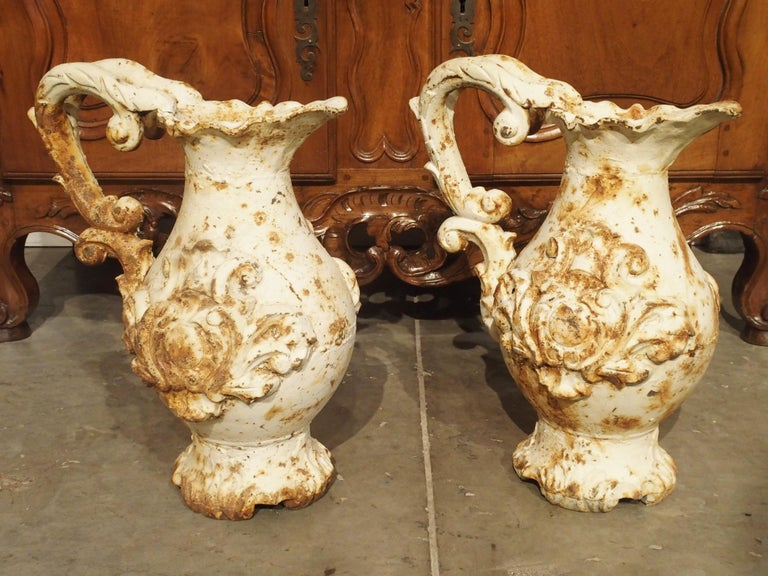 Pair of French Antique Cast Iron Pitchers For Sale 11