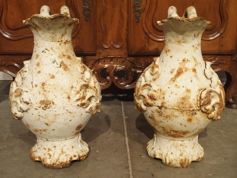 Pair of French Antique Cast Iron Pitchers For Sale 1