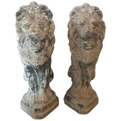 Pair of French Antique Cast Stone Lion Garden Statues or Ornaments
