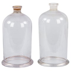 Pair of French Antique Chemist Glass Bells, Late 1800s