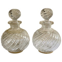 Pair of French Antique Crystal Bamboo Swirl Bottles by Baccarat