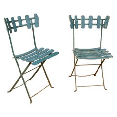 Pair of French Antique Garden or Bistro Iron Green Painted Folding Chairs