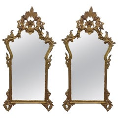 Pair of French Antique Hand Carved Wooden Gilded Mirrors