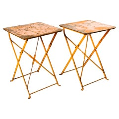 Pair of French Antique Iron Folding Garden Tables in Distressed Orange, c 1930's