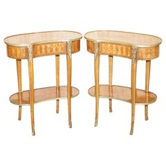 Pair of French Antique Kidney Side Tables Bronzed Fittings Marquetry Inlaid