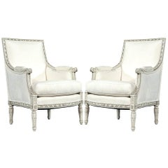 Pair of French Antique Louis XVI Antique Bergère Armchairs