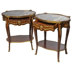Pair of French Antique Marble-Top Nightstand