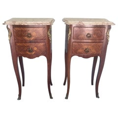 Pair of French Antique Marble-Top Nightstands or Bedside Tables