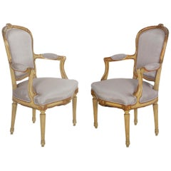 Pair of French Antique Painted Louis XVI Style Armchairs Fauteuils, 19th Century