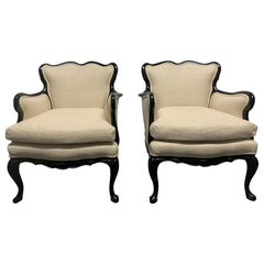 Pair of French Antique Style Lounge Chairs in Linen