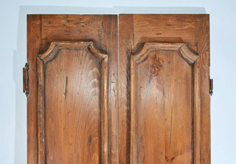 French Provincial Pair Of Antique Wood Doors Or Shutters For